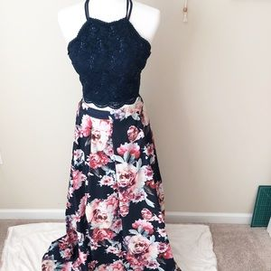 Prom Girl Two Piece Pink and Navy Floral Dress